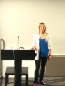 Easkey Britton in Aug 2013 - first run-throughs of her talk and getting used to the Madonna Mic!